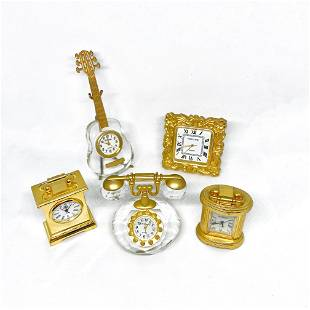 sets of Vintage Miniature Crystal Gold plated Clocks