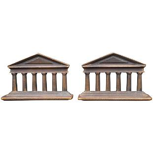 Verona Greek Columns Iron Bookends by Judd Circa 1925