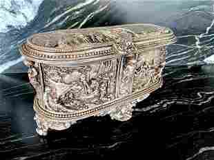 Antique box with hunting scenery ornaments
