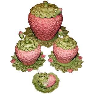 Set of Vintage Bardallo Pinheiro Strawberry Tureens