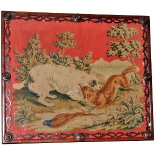 Mid-19th Century Woolwork of a Dog and Fox in Carved