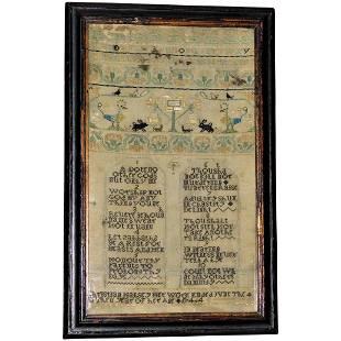 18th Century Silk Needlework Sampler of the Ten