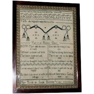 Rare Georgian Silkwork Sampler, Dated 1805
