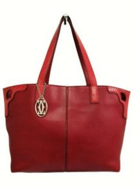 """CARTIER  """"Marcello"""" model tote bag in red leather"""