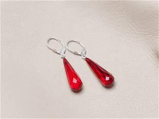 Red Amber Earrings, Faceted Teardrop shape