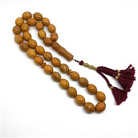 Antique Amber Tesbih made from Olive shaped Amber beads