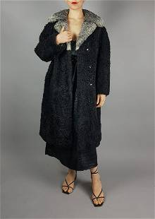 BLACK GREY PERSIAL LAMB FUR COAT