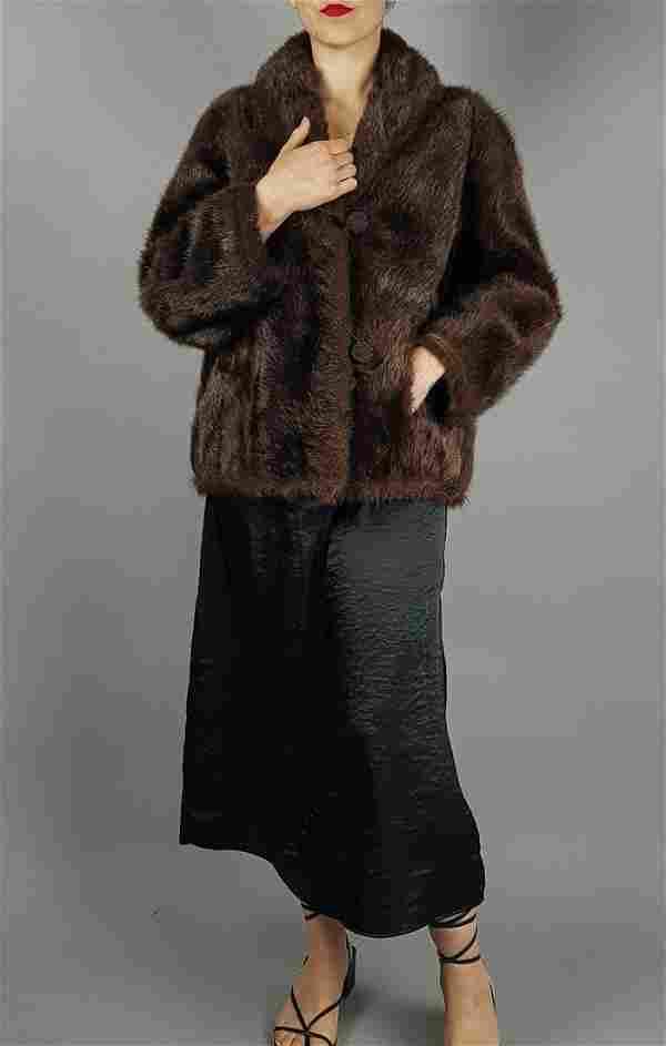 BROWN SHEARED RABBIT FUR COAT