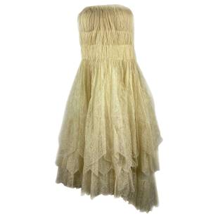1900s Lanvin Ivory Cream Floral Lace Sleeveless Midi