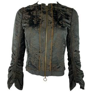 2005 LANVIN Black and Brown Floral Top Jacket, Size 38