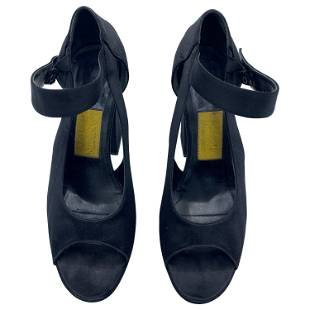 2007 Lanvin Black Suede High Heels Sandals, Size 39