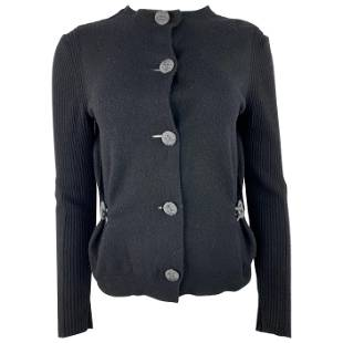 2007 Lanvin Black Wool Cardigan, Size Small