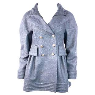 Chanel Navy Wool Short Length Coat Jacket w/ CC Buttons