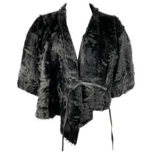 Ralph Lauren Collection Black Lamb Fur Cropped Cover Up