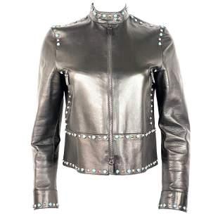 Valentino Black Leather Studded Jacket Size 8