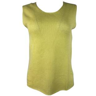 Vintage CHANEL Yellow Cashmere Knit Top, Size 42