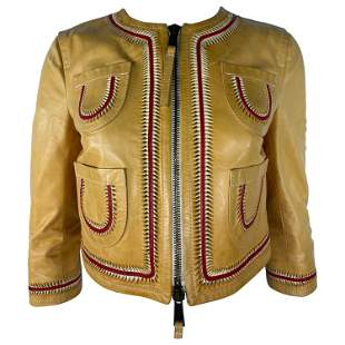 Vintage Dsquared2 Yellow and Red Leather Jacket, Size