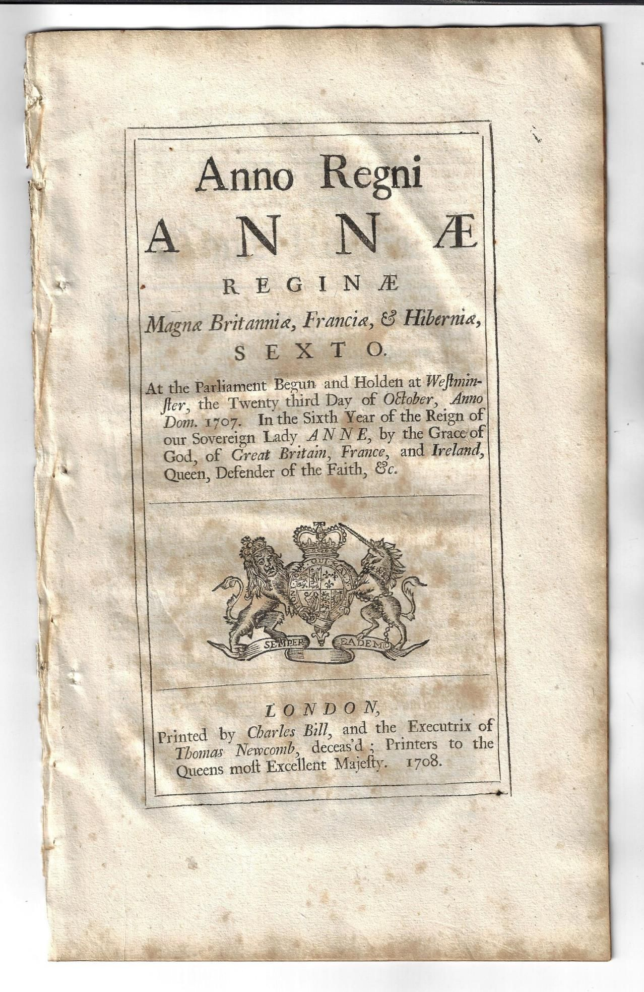1708 Act Reign of Queen Anne