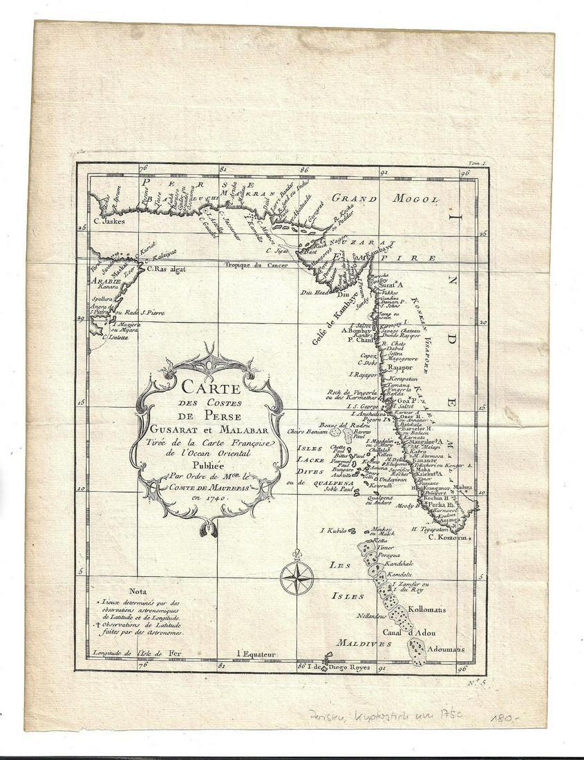 1750 Engraved Map Carte Perse Malabar