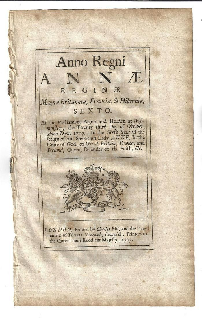 1707 English Act Reign of Queen Anne