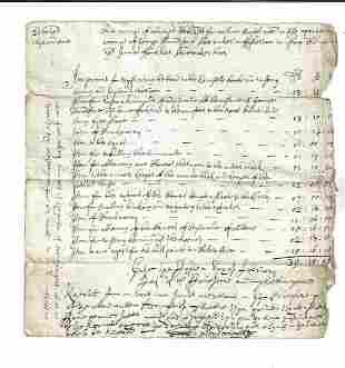 1692 Manuscript Account Legal Fees Scotland