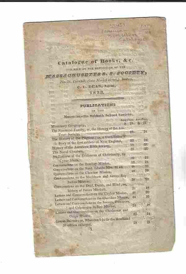 1833 Book Sale Catalouge Massachusetts Society
