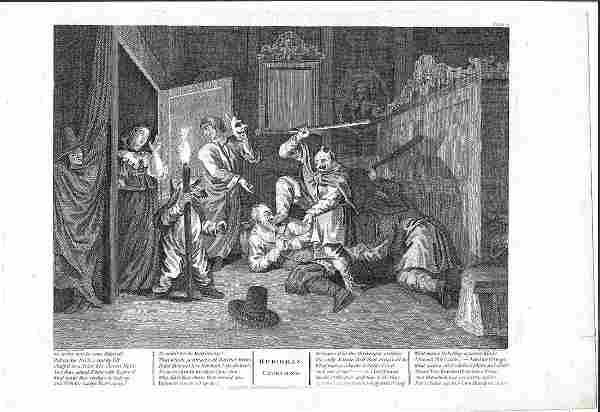 1810 Hogarth Engraving Hudibras Catechin'd
