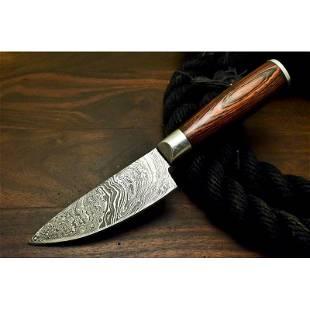 Handmade camping everyday work damascus steel knife