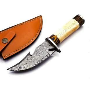 Skinner damascus steel knife survival wood camel bone