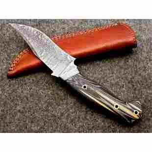 Everyday carry hiking work damascus steel knife micarta