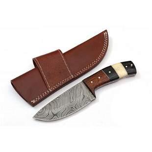 Full tang damascus steel knife camel bone buffalo horn