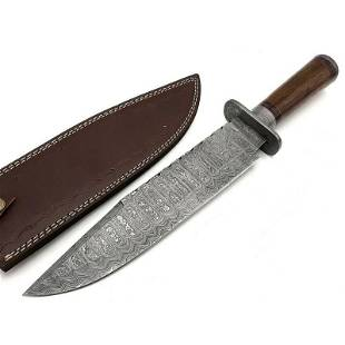 Dagger hunting boot damascus steel knife wood camping