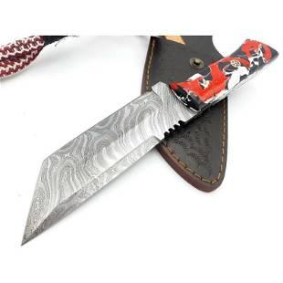 Handmade damascus steel knife hunting resin sheet