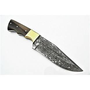 Hunting tracker work damascus steel knife horn brass
