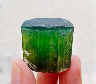 Natural & Unheated~ Blue Cap Green Touemaline Crystal