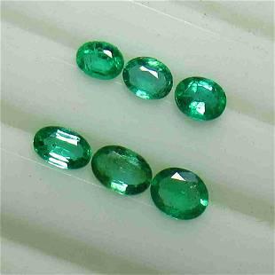 1.25 Ctw Natural 6 Zambian Emerald Oval Set