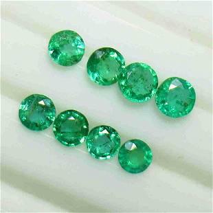 1.80 Ctw Natural 8 Zambian Emerald Round Set