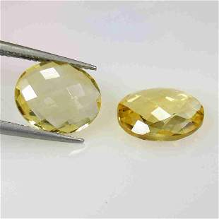 7.28 Ctw Natural Citrine Oval Checkerboard Pair