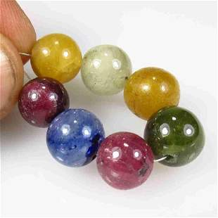 52.28 Ctw Natural 7 Drilled Multicolor Sapphire Ball