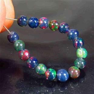 2.46 Ctw Natural 17 Drilled Black Fire Opal Ball Beads