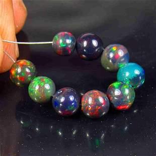 6.25 Ctw Natural 9 Drilled Black Fire Opal Ball Beads