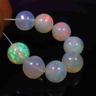 6.51 Ct Natural 8 Multi-Color Fire Opal Ball Beads