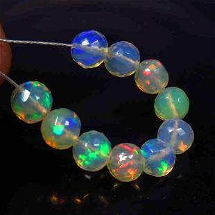 4.49 Ctw Natural 10 Multi-Color Fire Opal Ball Beads