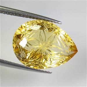 8.33 Ct Natural Yellow Citrine Pear Carving
