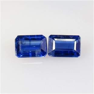 2.39 Ct Natural Deep Blue Kyanite Octagon Pair