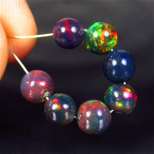 4.26 Ct Natural 7 Drilled Black Fire Opal Ball Beads