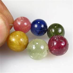 47.72 Ct Natural 6 Drilled Multicolor Sapphire Ball