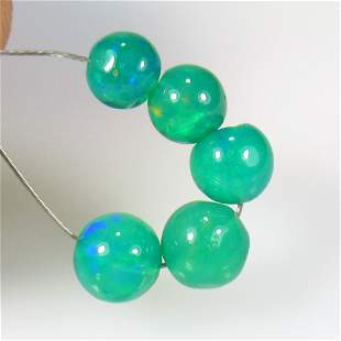 3.48 Ct Natural 5 Drilled Green Fire Opal Beads