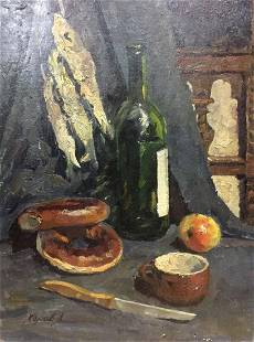 Oil painting Still life with bagels Khorov Alexander