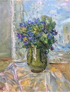 Oil painting Flower by the window Kalashnik Nikolai